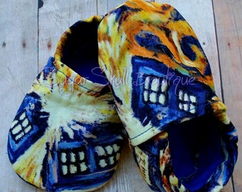 Doctor - Van Gogh - Painting - Tardis - Nerdy - Fandom - Baby - Booties -Crib - Shoe - Geek - Whovian - Who - Dalek - Weeping Angels