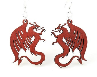 Dragons - Laser Cut Earrings from Reforested Wood