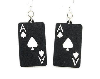 Ace of Spades - Laser Cut Wooden Earrings from Sustainable Materials