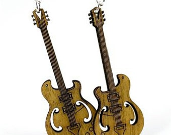 Electric Guitars - Laser Cut Wood Earrings