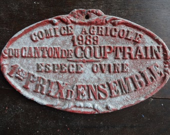 Vintage French agricultural farming beef cattle cow livestock winner red metal prize trophy plaque agriculture farm 1989 / English Shop