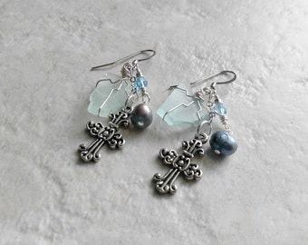 Frosty Blue cross earrings, beach glass, finger lakes gifts, wedding jewelry, womens fashion, cross earrings, gifts for her, summer fashion