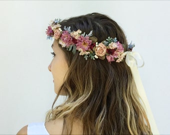 Blush and Pinks Flower Crown, Bridal Flower Crown, Bridal, Headpiece, Hair Crown, Floral Crown, Bohemian, Pink, Floral Headpiece, Wedding