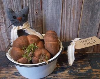 Sweet Primitive Black Cat and Pumpkins in Vintage Enamelware Sauce Pan - Fall/Halloween