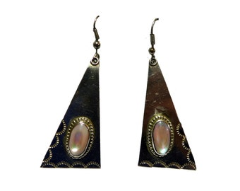 Sterling Silver Southwestern Mother of Pearl Triangle Drop Earrings #2279