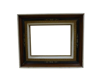 Aesthetic Carved Ebony, Gold, White & Mahogany Frame - 20 x 24