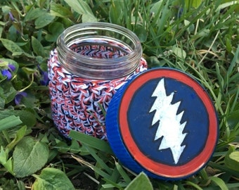 Grateful Dead Recycled Glass Stash Jar, Hand Wrapped, Hand Painted, medium, medicine, hippie, American Beauty, Jerry Garcia, Stealie, OOAK