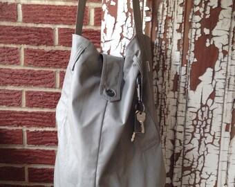 Repurposed Khaki Trench Coat Crossbody Bag, Tote, OOAK