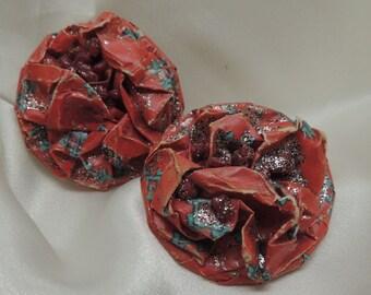 Vintage Red Paper Earrings
