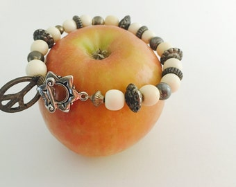 Ethnic Bracelet, vintage  Inspired, silver tone, Ivory beads, Hand Made in The USA, Item No. H024