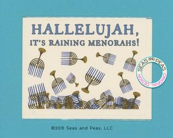 IT'S RAINING MENORAHS - Funny Hanukkah Card - Hanukkah Card - Funny Holiday Card - Funny Card - Card for Friend - Hanukkah - Item# X076