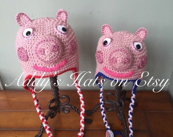 Peppa Pig or George Inspired Hat (You Choose Size)