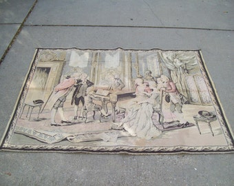 Large Antique French Woven Tapestry Wall Hanging 18th Century Aristocrat Parlor Scene Music Room
