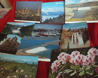 10 Unused Vintage Scalloped Edge Postcards from the state of Washington - including Seattle, Mt Rainier, Grand Coulee Dam, Olympic Mountains