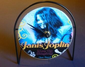 Janis Joplin Recycled CD Clock Art