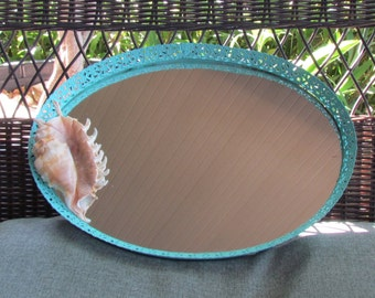 Vintage Mirror/Vanity Tray with Large Shell