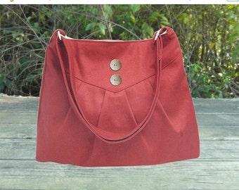 Summer Sale 10% off red cross body bag / messenger bag / shoulder bag / diaper bag  - cotton canvas
