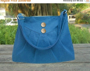 Holiday On Sale 10% off blue cotton canvas purse / cross body bag / messenger bag / shoulder bag / diaper bag