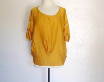 Vintage designer mustard yellow short sleeve boat neck blouse