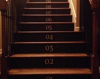 Vinyl Numbers / Stairway Numbers - Vinyl Lettering Decal Step Numbers Stair Decals