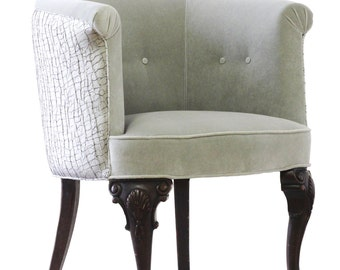 Gray Barrel Back Armchair
