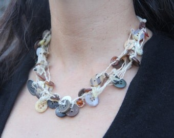 woven necklace // earthy tones // chunky necklace // six strand // multi strand // vintage buttons // hemp twine // eco gifts