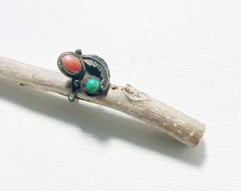 Vintage Native American Sterling Turquoise Coral Feather Ring