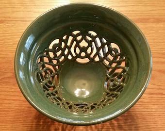 Fruit Bowl, Large Green Celtic Bowl, Handmade Ceramic Centerpiece