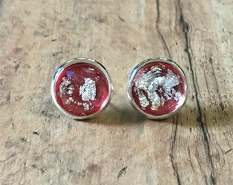 Gorgeous red silver flake studs