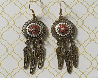 Gorgeous red and white dream catcher earrings