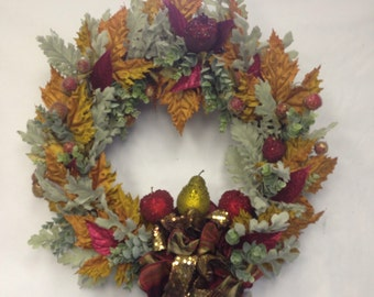 Fall Wreath- Fruit-Glitter Wreath-Beach Thanksgiving-Sparkle Fruit Wreath-Autumn Decoration-Pears-Apples-Fruit-Annie Gray-New England Wreath