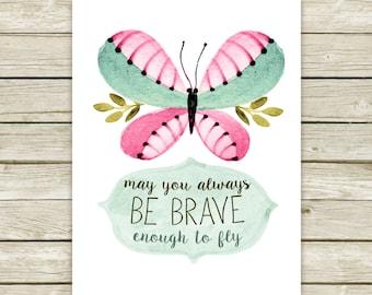 Baby girl nursery printable, watercolor printable, spring printable, baby girl nursery, butterfly printable art