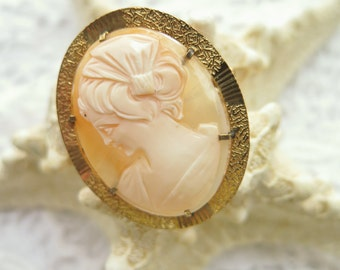 Vintage Cameo Brooch Carved Shell Set In Rolled Gold Frame Marked RG