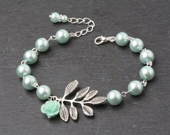 Mint Bridesmaid Jewelry Mint Pearl Bracelet  Mint Wedding Bracelet Bridesmaid Bracelets Pearl Mint Bridesmaid Gift Rustic Wedding Jewelry
