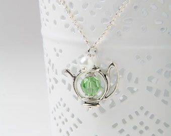 Teapot Necklace, tea necklace, Alice Necklace, tea jewelry, Green teapot necklace, gift for her, Alice in Wonderland, tea lover gift