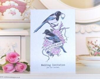 TWO FOR JOY Magpie tattoo handmade wedding invitations