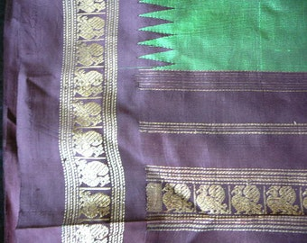 Silk sari two tone dark green aubergine boarder  gold embroidery yardage devotional dress, women, teens, vedic wear, traditional indian sari