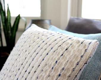 White textured pillow with indigo blue stripes - modern throw pillow in cotton mix, crochet pillow