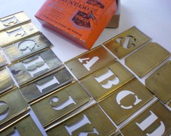 """Vintage 2.5"""" Complete Set of Interlocking Brass Letters"""