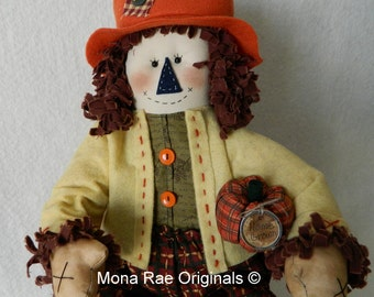 "Scarecrow Doll ~ Jack'O ~ 24"" Tall ~ Orange, Green Brown, Blue ~ Handmade Original Doll ~ Miniature Pumpkin"
