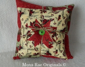"""Star Stacking Pillows ~ Two Pillows 8"""" & 12"""" ~ Hand Quilted OOAK ~ Sofa, Chair, Cabin Pillows, Country Home Pillows ~ Rust, Green Pillows"""