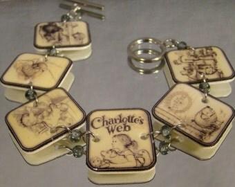 Charlotte's Web Book Illustration Bracelet - Reader Jewelry - Classic story jewellery