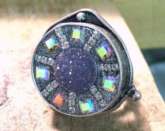 LOVE SALE Iridescent druzy and Swarovksi Crystal silvertone ring