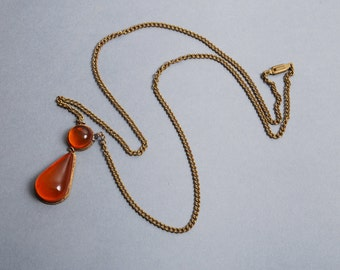 Vintage sterling silver pendant with pressed Baltic Amber cabochon , necklace