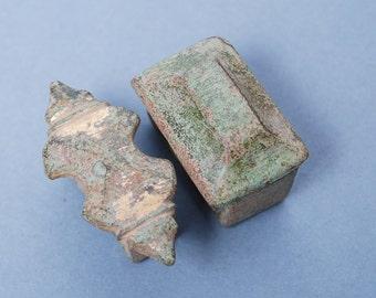 SALE... Set of 2 antique brass parts of belt buckles, primitive finding