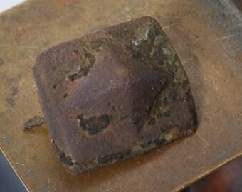 Antique brass round plate, rosette, part, finding, dark patina