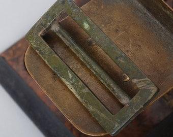 Antique brass belt buckle, original patina