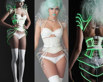 M Glow Shrug- Clear PVC with Green Glow in the dark Trim Shoulder armour (production sample Artifice Clothing)
