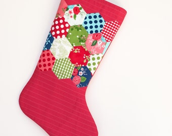 Christmas Stocking - Hand Appliqued Quilted Christmas Stocking - Hexagons - Personalized