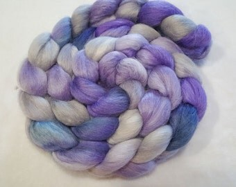 Alpaca/Merino/Tussah Silk Roving-50/30/20-Hand Dyed/Painted - 4 oz - Silver, Lilac and Gun Metal Grey